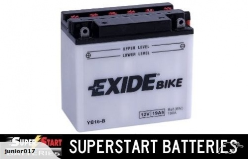 Motorbike Battery - Exide YB16-B 12v 19ah CB16-B 16-B Buell Ducati Harley Davidson