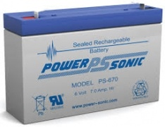 POWERSONIC PS-670 6v 7ah AGM VRLA Sealed