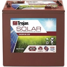 TROJAN SOLAR AGM DEEP CYCLE BATTERY 6V 220 AH TROJAN SAGM 06 220 FREE SHIPPING EXCEPT RURAL ADDRESSES