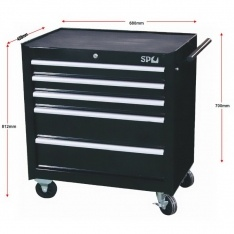 SP Tools 5 Drawer Roller Cab Tool Box Black Custom Series SP40111